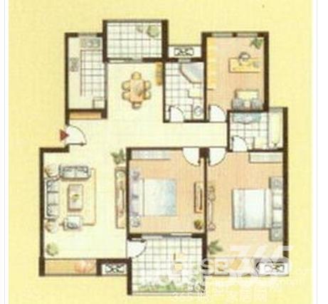 三房两厅房屋平面设计图片欣赏展示