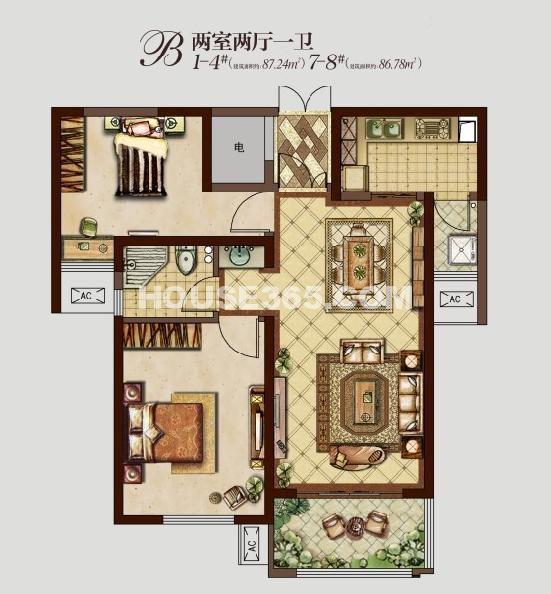 东方米兰国际城1-4#楼B户型两室两厅一卫87.24�O