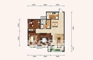 金泰丝路荟A2户型三室两厅103�O