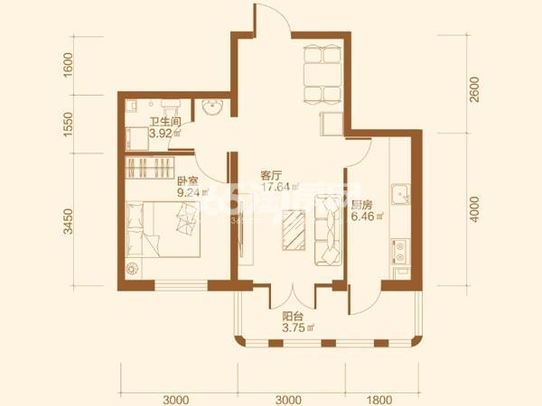 B户型1室1厅1卫