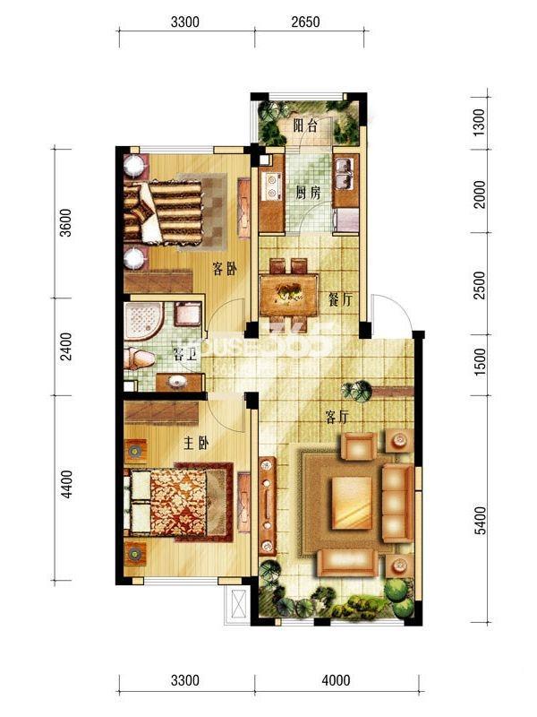 中海城户型图 二室二厅一卫 89㎡