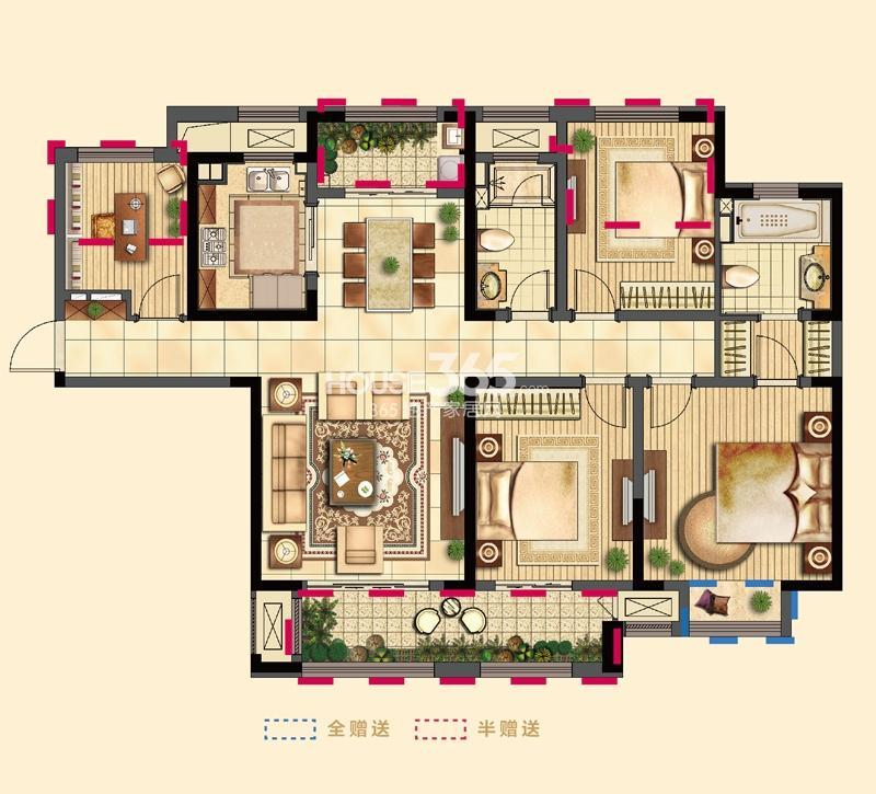 吴江新城吾悦广场二期3号楼标准层D户型4室2厅2卫1厨143㎡