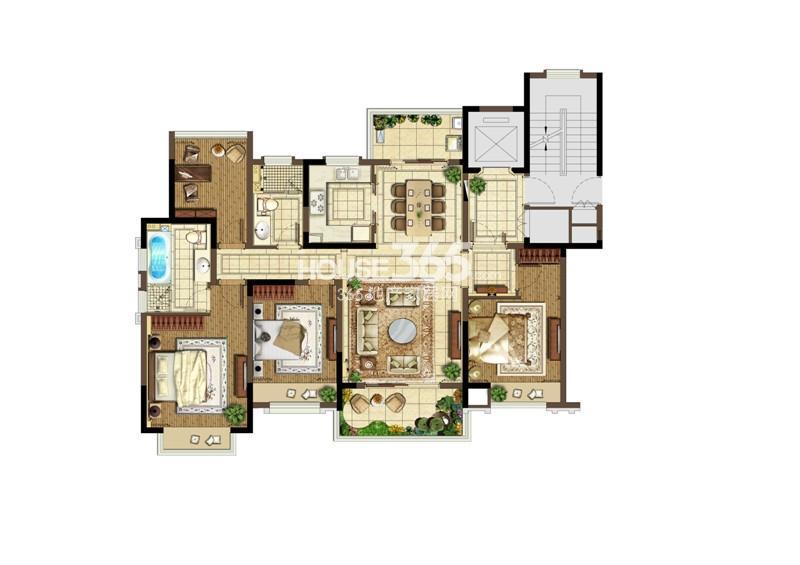 宏图上水云锦一期标准层A户型 4室2厅2卫1厨143㎡