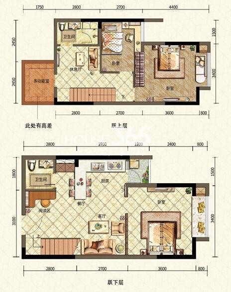 二期6号楼标准层C户型 三室一厅一厨两卫 52平米