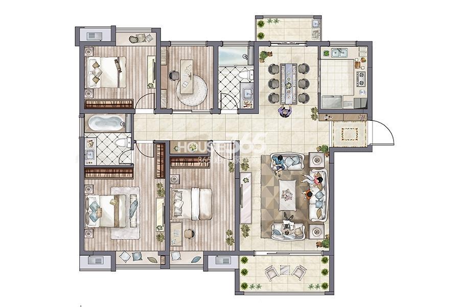 环秀湖花园户型图小高层3#标准146平米