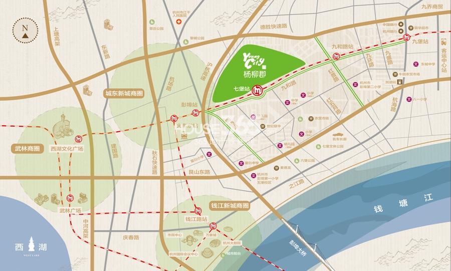 地铁绿城杨柳郡交通图
