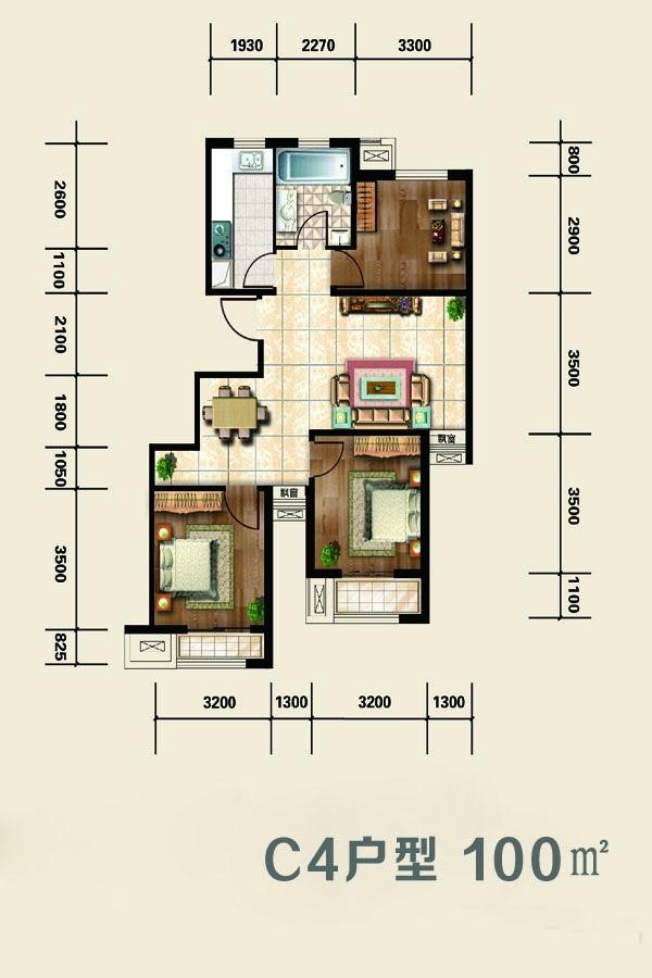 洋房标准层C4 3室2厅1卫 100㎡