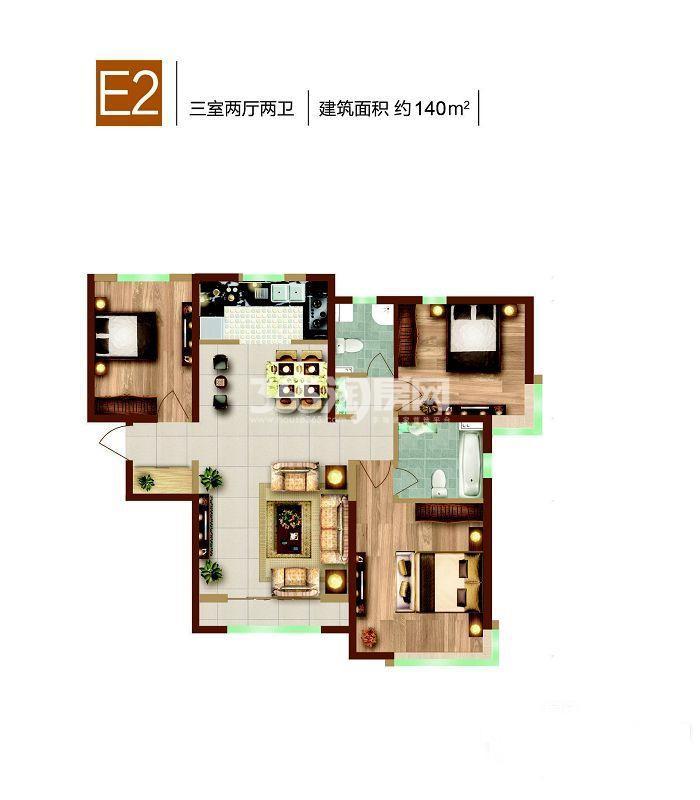 E2户型, 3室2厅2卫, 140平米