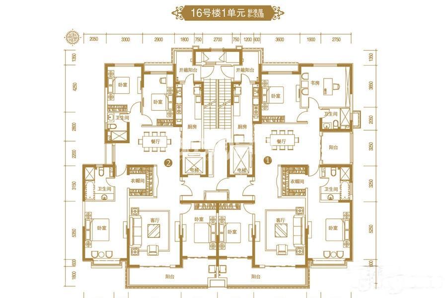 恒大御景半岛16号楼一单元平面图
