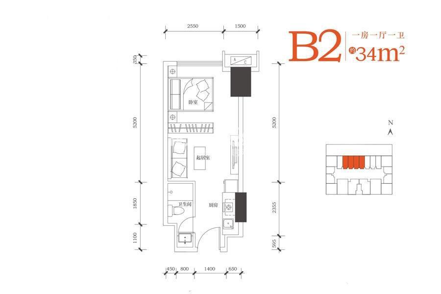 合能朱阙B2户型一室一厅一卫34㎡
