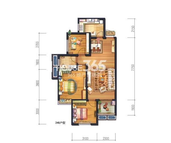 宫园美岸2#楼/3#楼B户型图