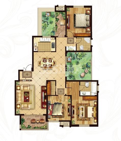 冠城大通蓝湾二期洋房H3户型 160平米3+1百变空间2厅2卫
