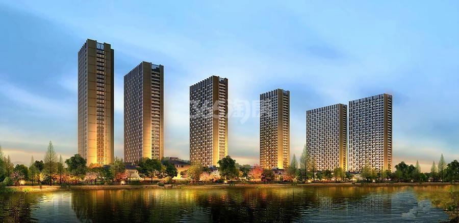 中天官河锦庭沿河景观效果图