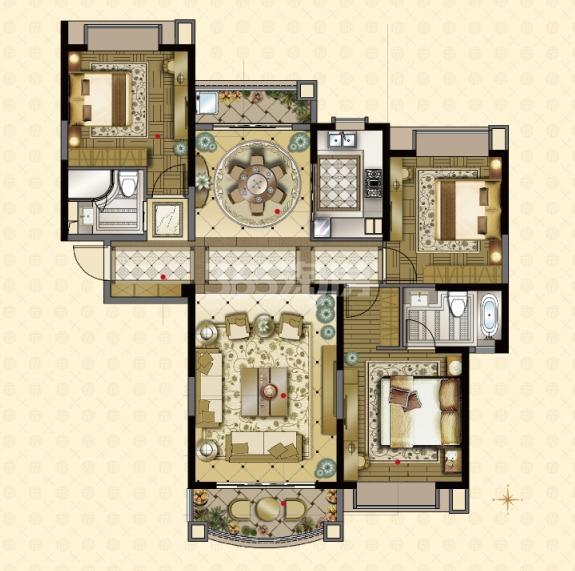 雅居乐中心广场8#楼160平户型图