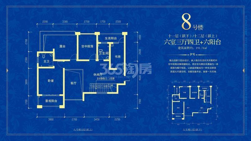悠然蓝溪8#楼 11层/12层 复式大户型 六室三厅四卫六阳台