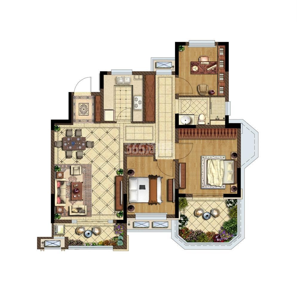 金地湖城艺境洋房5层户型图105㎡
