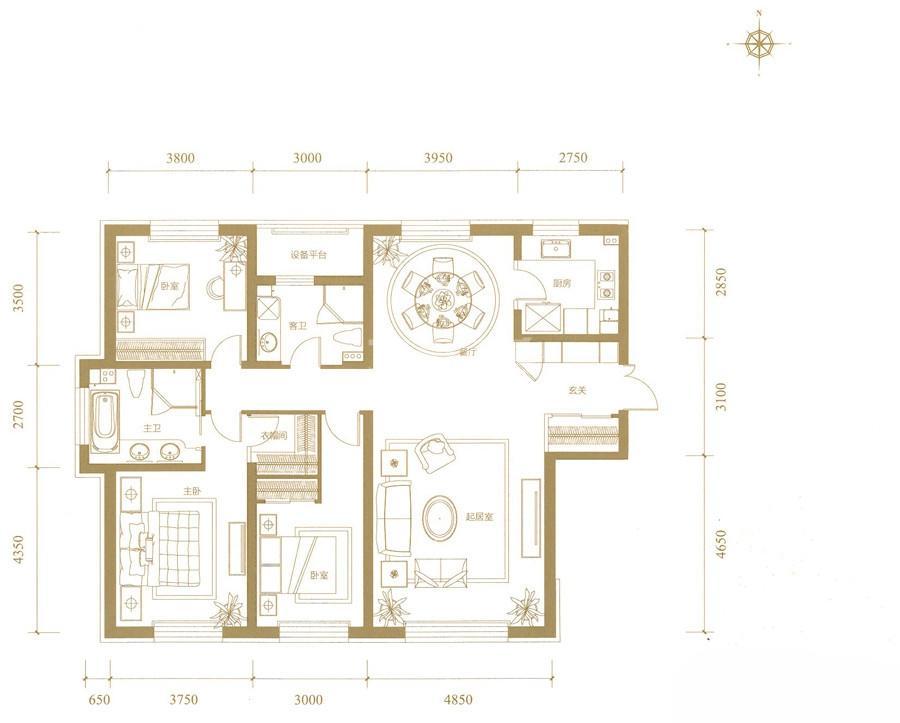 高层1、2、5号楼标准层A户型