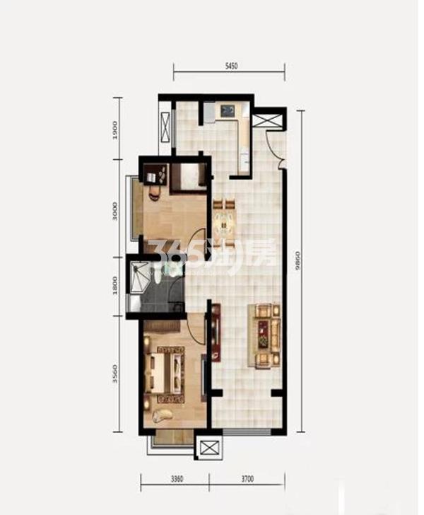 B户型 2室2厅1卫 约90.20平米