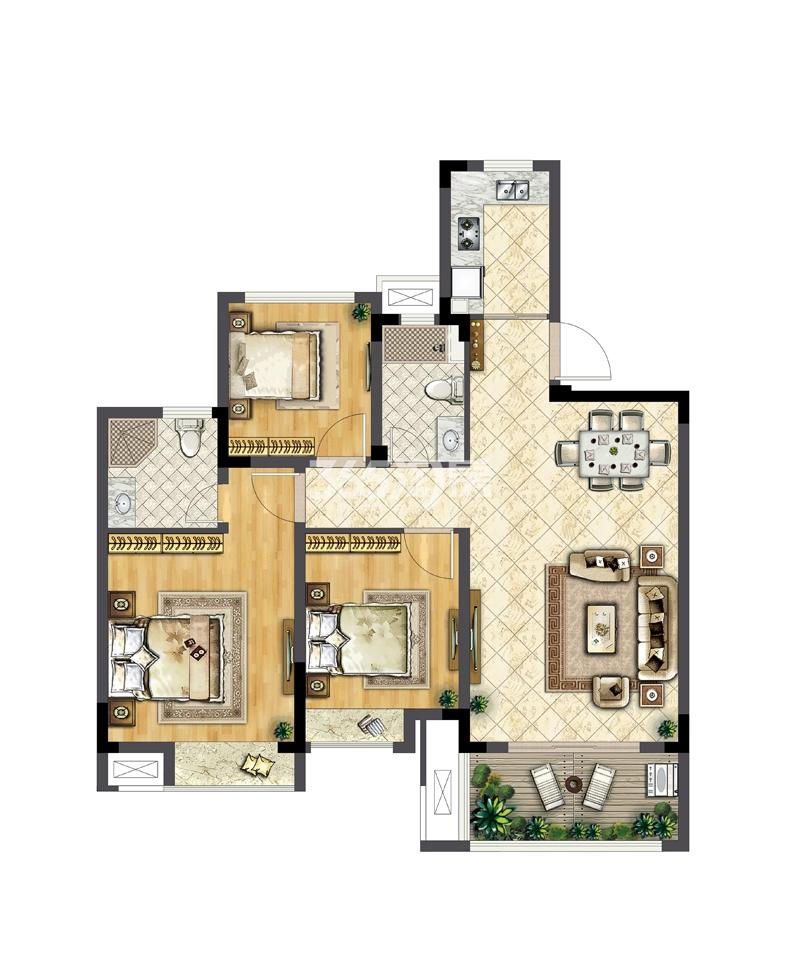 华宇林泉雅舍B户型98平米 三房两厅两卫