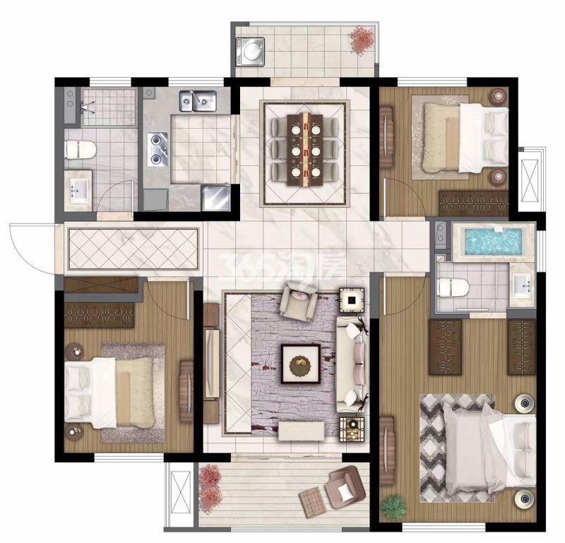 中航国际社区115㎡三室两厅两卫户型图