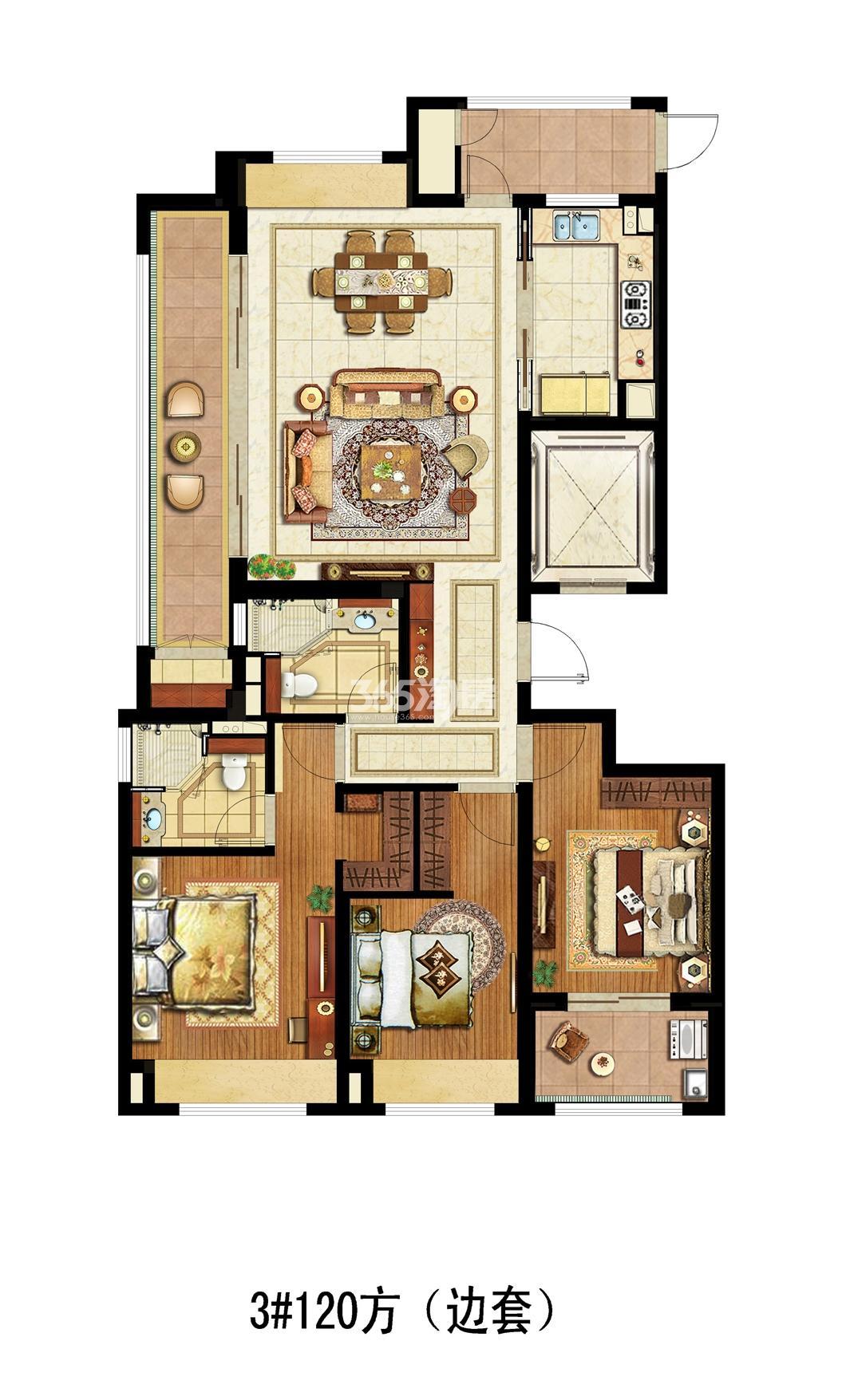滨江金茂府项目3号楼边套120方户型