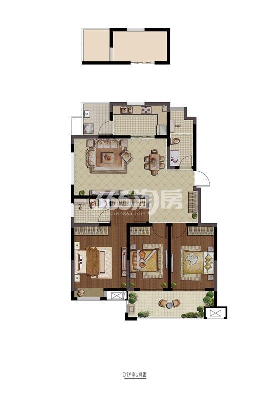 紫金铭苑D1户型三房两厅两卫116㎡户型图