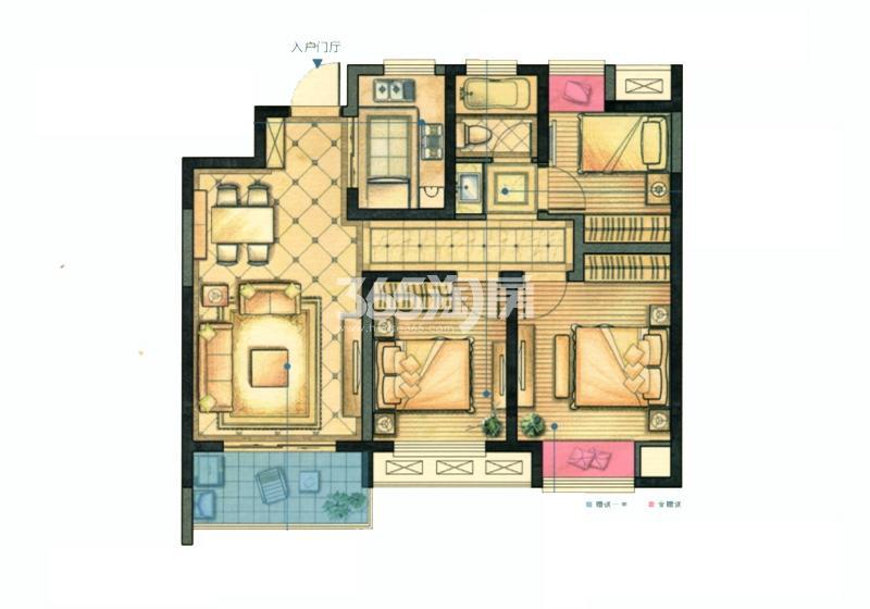 红豆香江豪庭二期89平跃光户型图