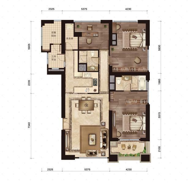 2号楼-3号室 201-207平米 3室2厅2卫