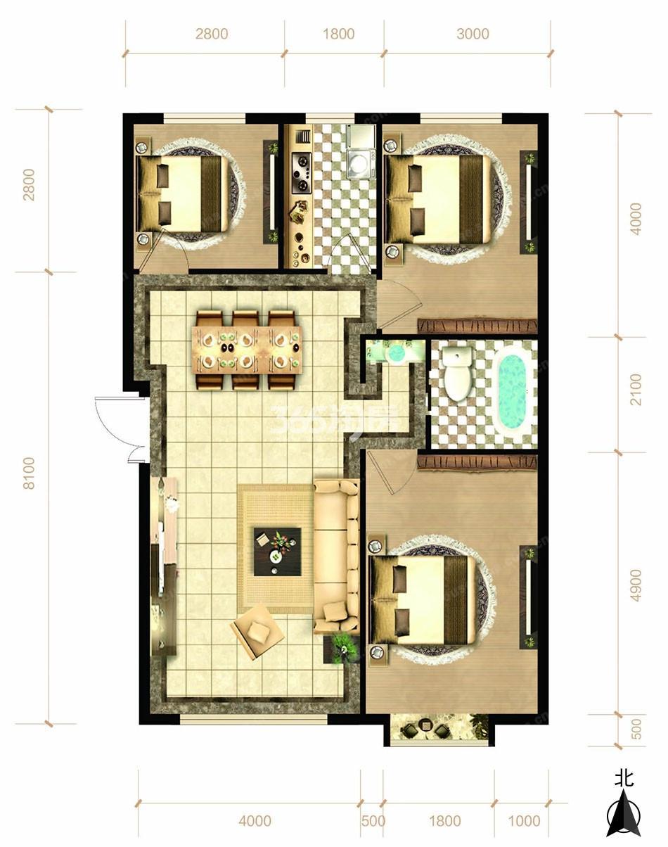 四室两厅两卫101平方米