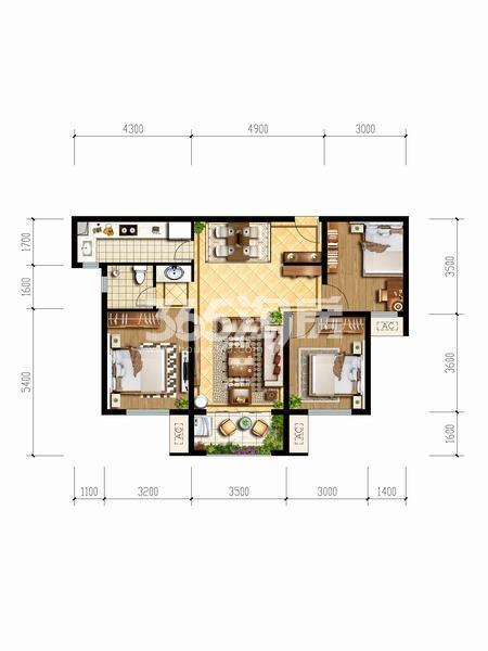 天朗玖悦都三室两厅一厨一卫94.09㎡户型图