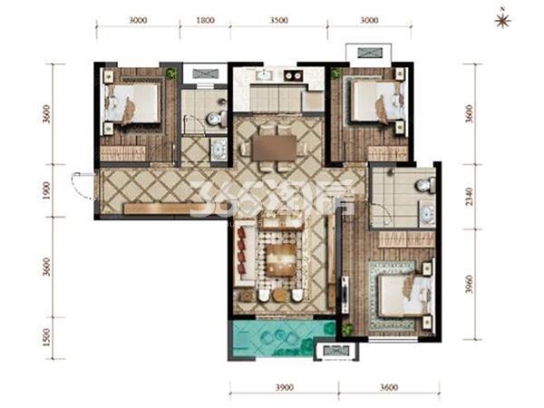 紫薇西棠高层三室两厅一厨一卫117㎡