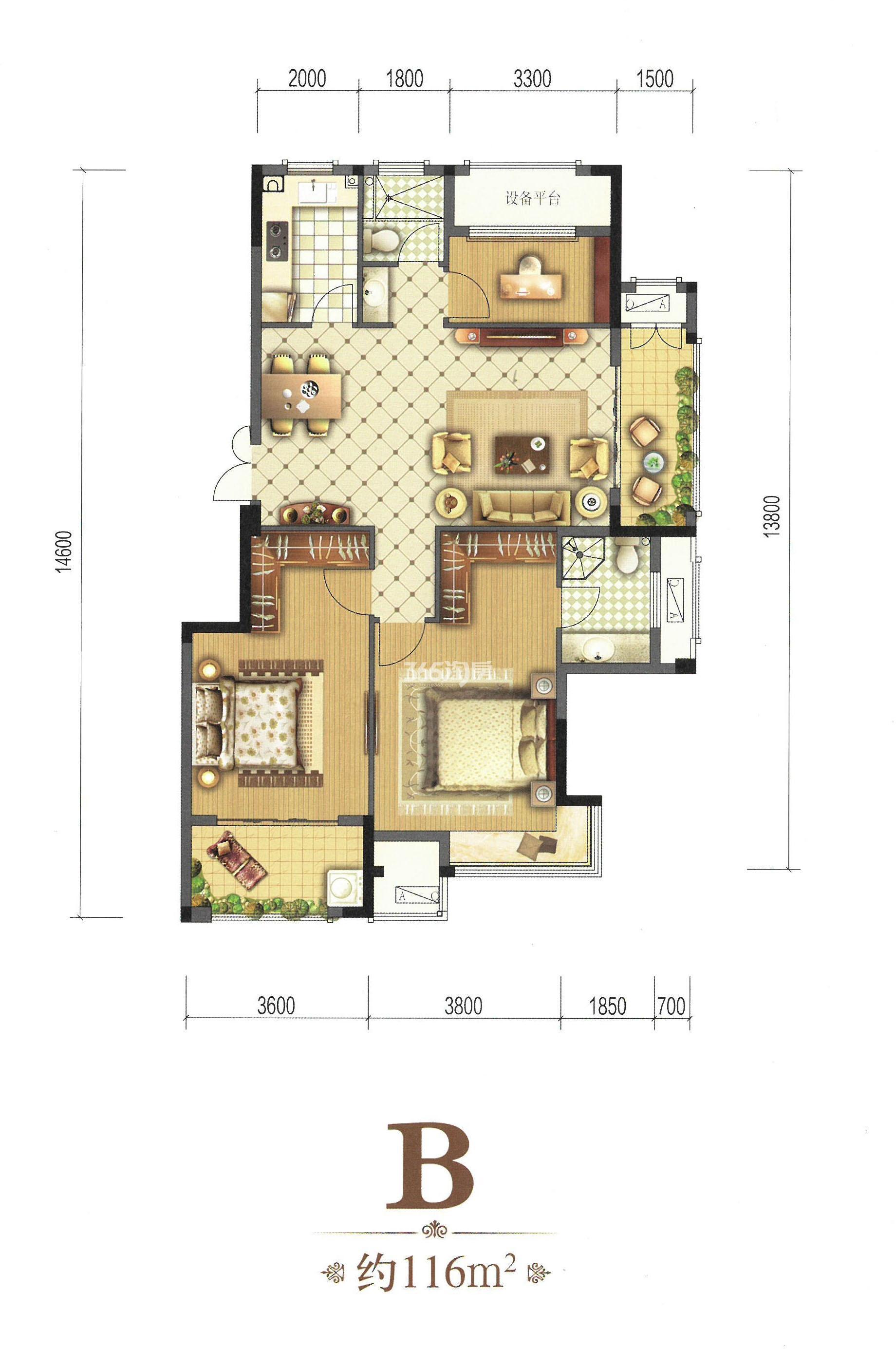 B-116㎡ 三房两厅两卫一厨