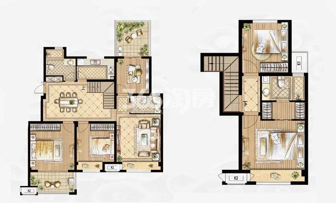 叠拼D-4户型 5室2厅3卫1厨