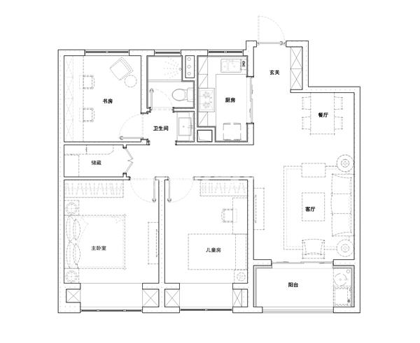 A户型105㎡三室