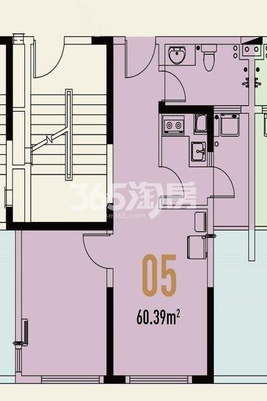 世茂翡翠首府1#楼公寓60.39㎡户型